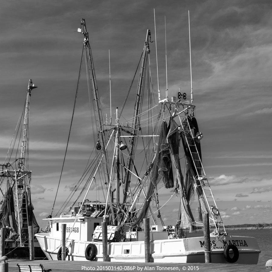 Gulf coast fishing boat rigged with hanging nets on a clear day in Florida in black and white photo 201503140-086PK