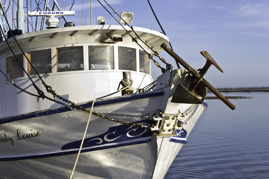shrimp boat anchor on bow of Apalachicola shrimp boat